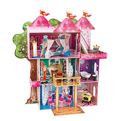 "KidKraft Storybook Mansion Three-Story Wooden Dollhouse for 12"" Dolls with 14Piece Accessories, Multi,,48 x 19.25 x 52.88 (65878): Toys & Games"