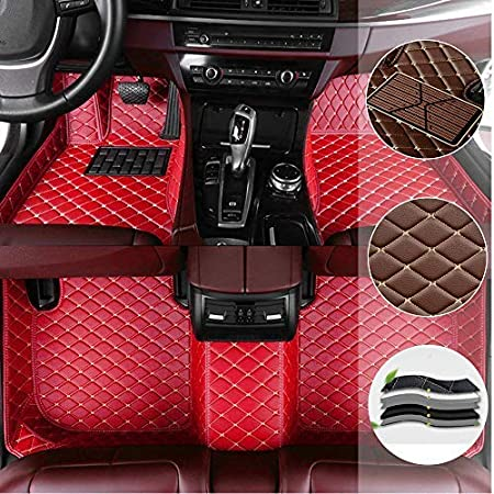 Car Floor Mat for Mercedes Benz C 260 300 4Matic Sedan 4door 2012-2013 All Full Coverage Liner All Weather Waterpoof Non-Slip Leather Heavy Duty Custom Front Rear Mat Left Drive Black and Beige