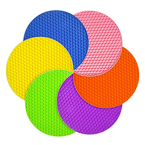 Silicone Pot Holder Insulation Pad Mat Silicone Heat Resistant Coasters Hot Pad Silicone Insulation Mat Trivet Mat Pans Mat, Pot holder Silicone Heat Resistant Trivet Non Slip Flexible Mat 18X6mm
