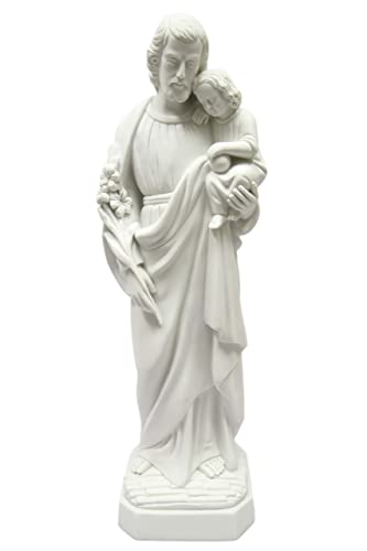 27 Saint St Joseph with Holy Child Baby Jesus Catholic Religious White Statue Sculpture Vittoria Collection Made in Italy