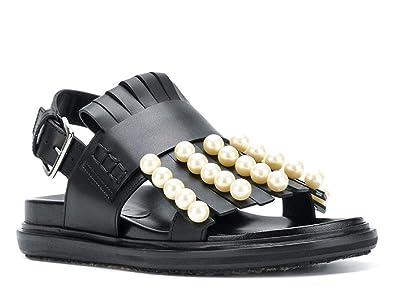En Franges Code Noir Sandales Plates Avec Cuir Perles Marni Et 8vm0nONw