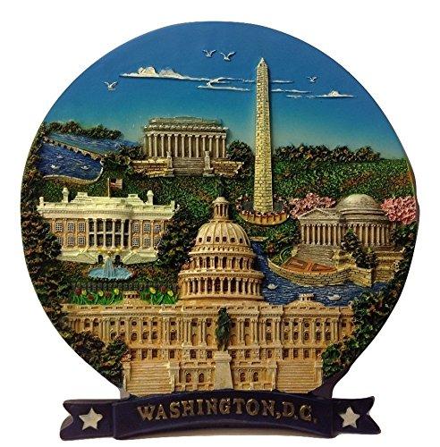 Washington Monument, Lincoln Memorial, Jefferson Memorial, White House & U.S Capitol Washington DC Decorative Plate- Washington DC - Dc Lincoln Washington Monument
