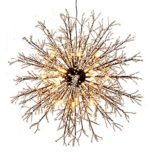 GDNS 12 Pcs Lights Chandeliers Firework LED Light Stainless Steel Crystal Pendant Lighting Ceiling Light Fixtures Chandeliers Lighting,Dia 31.5 inch