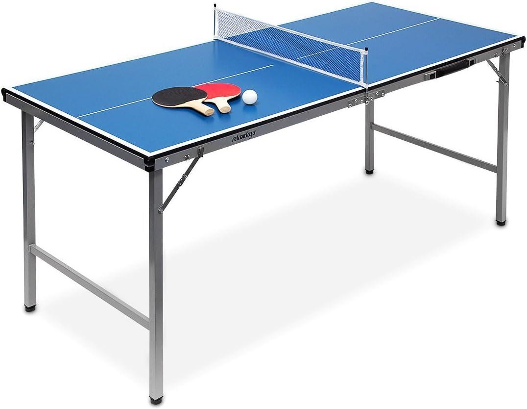 Relaxdays Mesa Ping Pong Exterior Plegable con Red, Pelotas y Raquetas, Niños, Azul, 71 x 67 x 150 cm