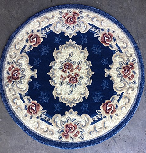 Classic Aubusson Traditional Round Area Rug Dark Navy Blue Design 507 (4 feet X 4 feet Round)