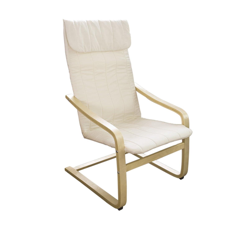 SoBuy® sillón de relax, Silla de relax, mecedora, blanco, FST17-W,ES