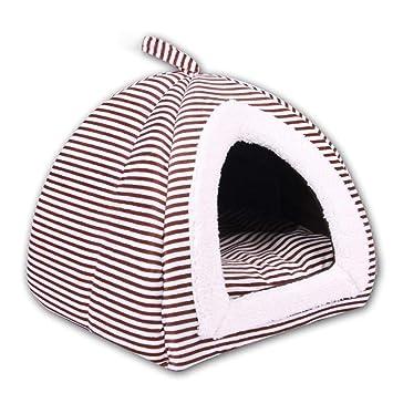 iBaste Pet Kennel Teddy Casa Suave Cálida Cama-caseta Plegable para Pequeño Perro Gato