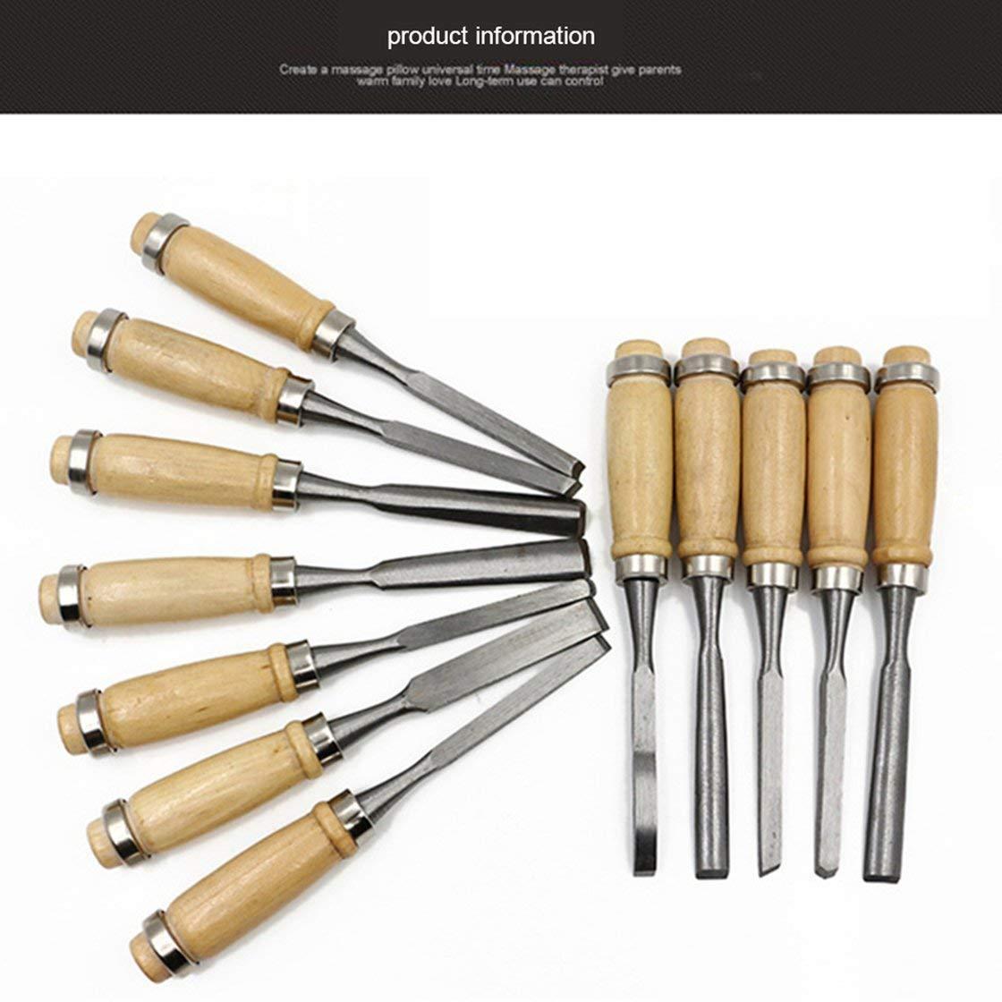 Juego de herramientas de madera tallada a mano 12 piezas Gubias profesionales con bolsa cincel