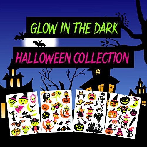 COKOHAPPY 4 Sheets Temporary Tattoo 50+ Design Glow in the Dark Ghost Witch Ghost Pumpkin Spider Bats Assorted Luminous ()
