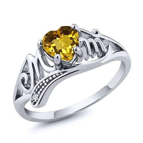 Gem Stone King 0.47 Ct Heart Shape Mothers Day Yellow Citrine and White Topaz Sterling Silver Mom MOM Ring Available 5,6,7,8,9