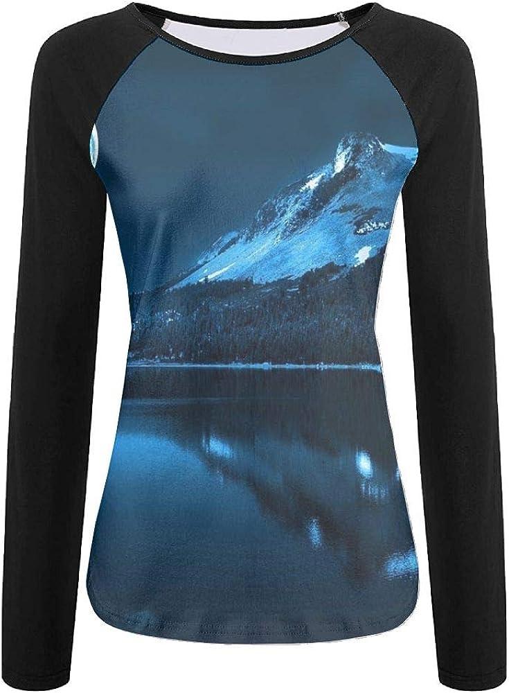 TO-JP 3D Print Full Moon Long Sleeve Shirt Womens Baseball Shirt