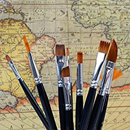 12pcs Paint Brush Set for Art Painting /Acrylic Watercolor Oil Gouache & Face Painting / Professional Nylon Hair Art Brushes for Artists/ Beginners/ Kids (12 pcs)
