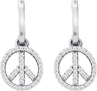 Da donna in oro bianco 10K diamante peace-sign Ciondola 1/4Cttw