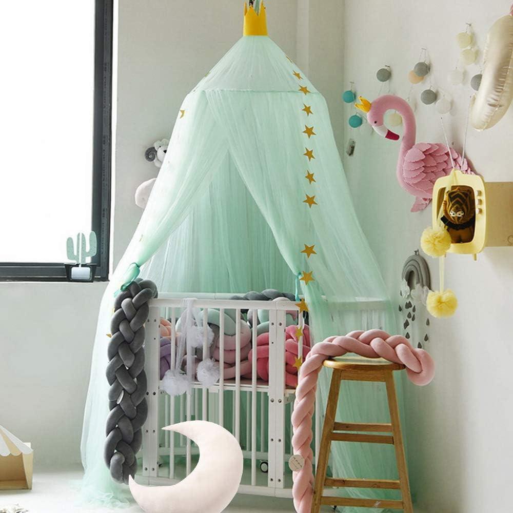 10Pcs Mosquitera /& 2Pcs Corona Mosquitera de Dosel de la Cama con Encaje Elegante Cama Princesa Mosquitera Anti-Insectos para Camas Infantiles