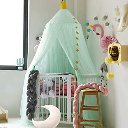 Baby Bedding Kid Crib Netting Canopy Bed Curtain Round Dome Hanging Mosquito Net Curtain Play Tent Bedding For Baby Kids Playing Reading Home Crib Netting