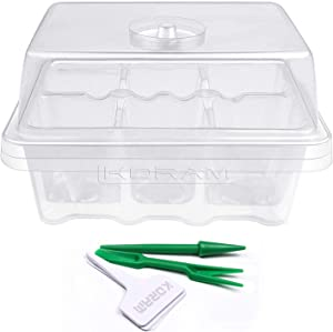 KORAM 10 Sets Seed Trays 60 Large Cells Clear Seedling Tray Plant Starter Kit Growing Trays with Humidity Lid and Base for Greenhouse Seed Germination (C6)