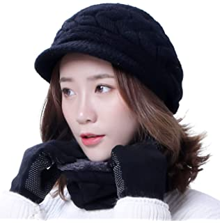 34d47511d HINDAWI Winter Hats Gloves for Women Knit Warm Snow Ski Outdoor Caps Touch  Screen Mittens