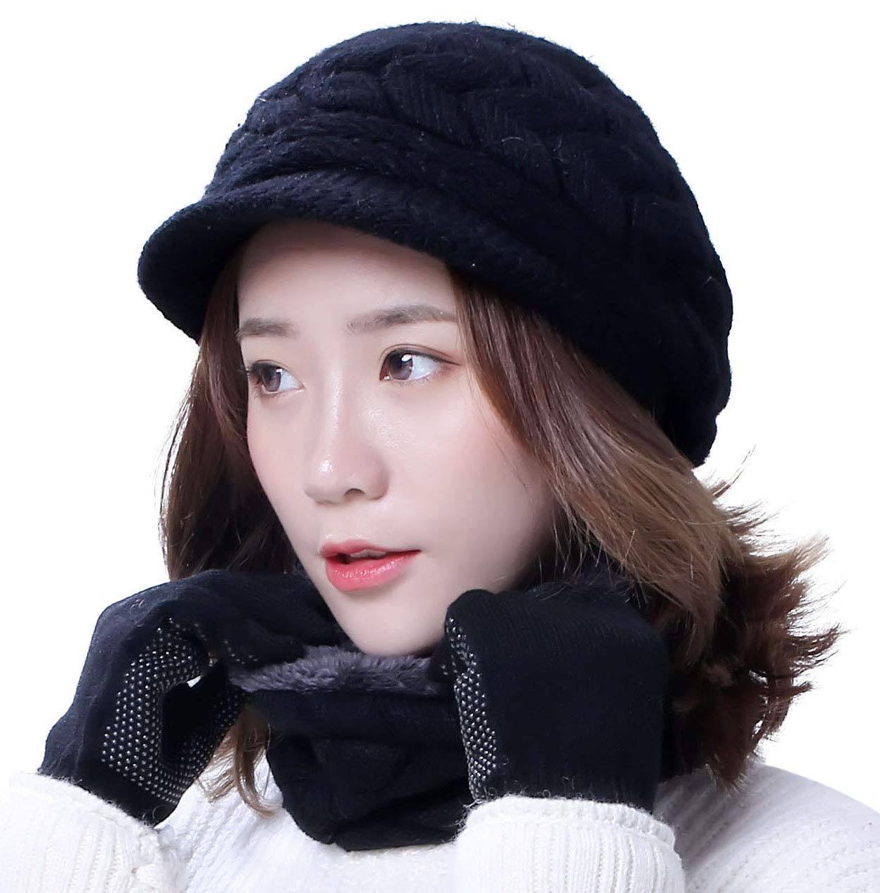 Black Winter Hat Gloves Scarf Set for Women Visor Snow Knit Skull Cap Infinity Scarves Touch Screen Mittens