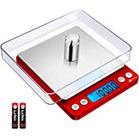 Brifit Zakweegschaal, 500g x 0,01g Zeer Nauwkeurige Weegschaal met 100g Gewicht, Keukenweegschaal met Achtergrondverlichting, 2 Laden, Tarra en PCS Functie, Inclusief Batterij (Rood)