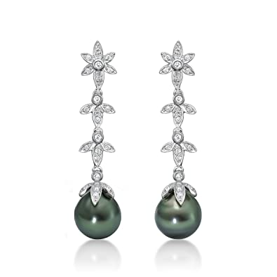 e7880329df Image Unavailable. Image not available for. Color: Sterling Silver White  Topaz Tahitian Natural Black Cultured Pearl Dangle Earrings