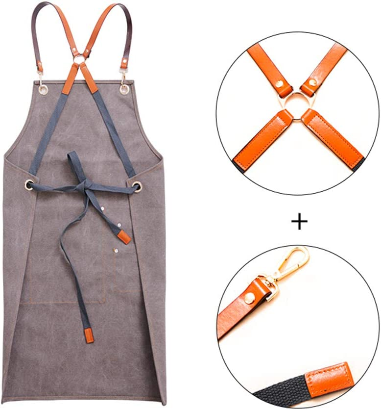 YQQWN Chef Aprons for Men & Women, Adjustable Apron with Multiple Pockets, Ideal for BBQ,Quick Release Buckle Work Aprons for Kitchen Tools,Gray Brown