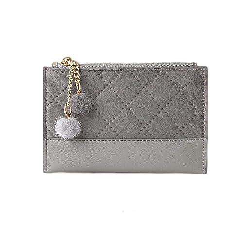 d7d2d2874d14 GOISU 財布 レディース カードケース ミニ財布 極薄 小銭入れ PUスエード 可愛い ポンポン付き