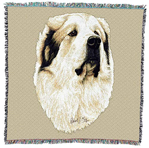 - Pure Country Weavers - Great Pyrenees Dog Woven Throw Blanket with Fringe Cotton. USA Size 54x54