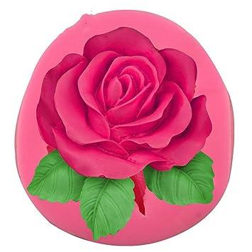 Forma de Moldes de silicona,, grandes rosas hecha a mano decoración de flores Cake Mold chocolate arcilla Craft molde herramientas de bricolaje: Amazon.es: ...