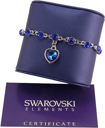 G4Love Bracelet femme Argent Swarovski Elements Cœur bleu avec ...