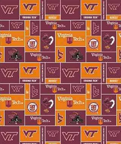 "Virginia Tech Hokies Fleece Fabric - 60"" Wide - Style# VT-012"