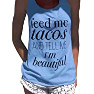 85264a58 Women Summer Tank Tops 'Feed Me Tacos' Sleeveless Shirts Funny Letter Print