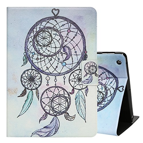 Top Munster iPad 5 2017 9.7 Case,Smart Auto Sleep / Wake Function stand Card Slots Pocket Premium PU Leather + TPU Personal Production Case Cover(Catch Dream - Net Cards Premium