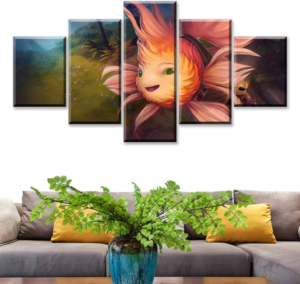 bdbdff Cinco Cuadros Decorativos Criatura Marina De Dibujos Animados,5 Piezas Pintura Decorativa Sala De Estar Decorativos HD Poster Lienzo De Pintura 150Cmx80Cm(Sin Marco)