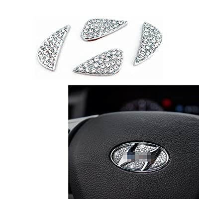 MAXMILO Car Interior Bling Accessories for Hyundai Accessories Sonata Elantra IX35 IX25 Tucson Verna MISTRA Accent Steering Wheel Sign Logo 3D Rhinestone Decals Cover: Automotive