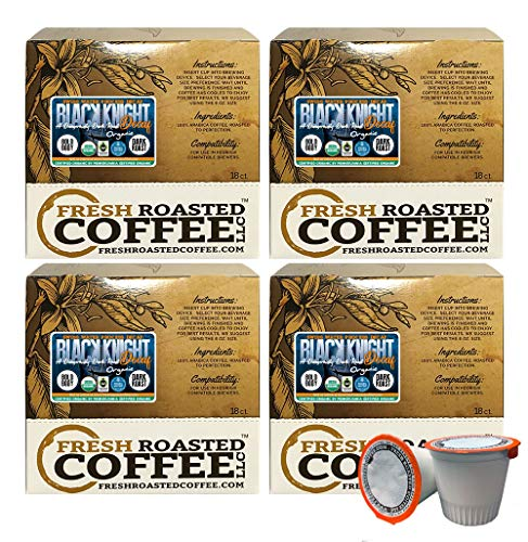 Fresh Roasted Coffee LLC, Swiss Water Decaf Organic Black Knight Coffee Pods, Dark Roast, Fair Trade, USDA Organic, Capsules Compatible with 1.0 & 2.0 Single-Serve Brewers, 72 Count (Fresh Roasted Coffee Llc Organic)