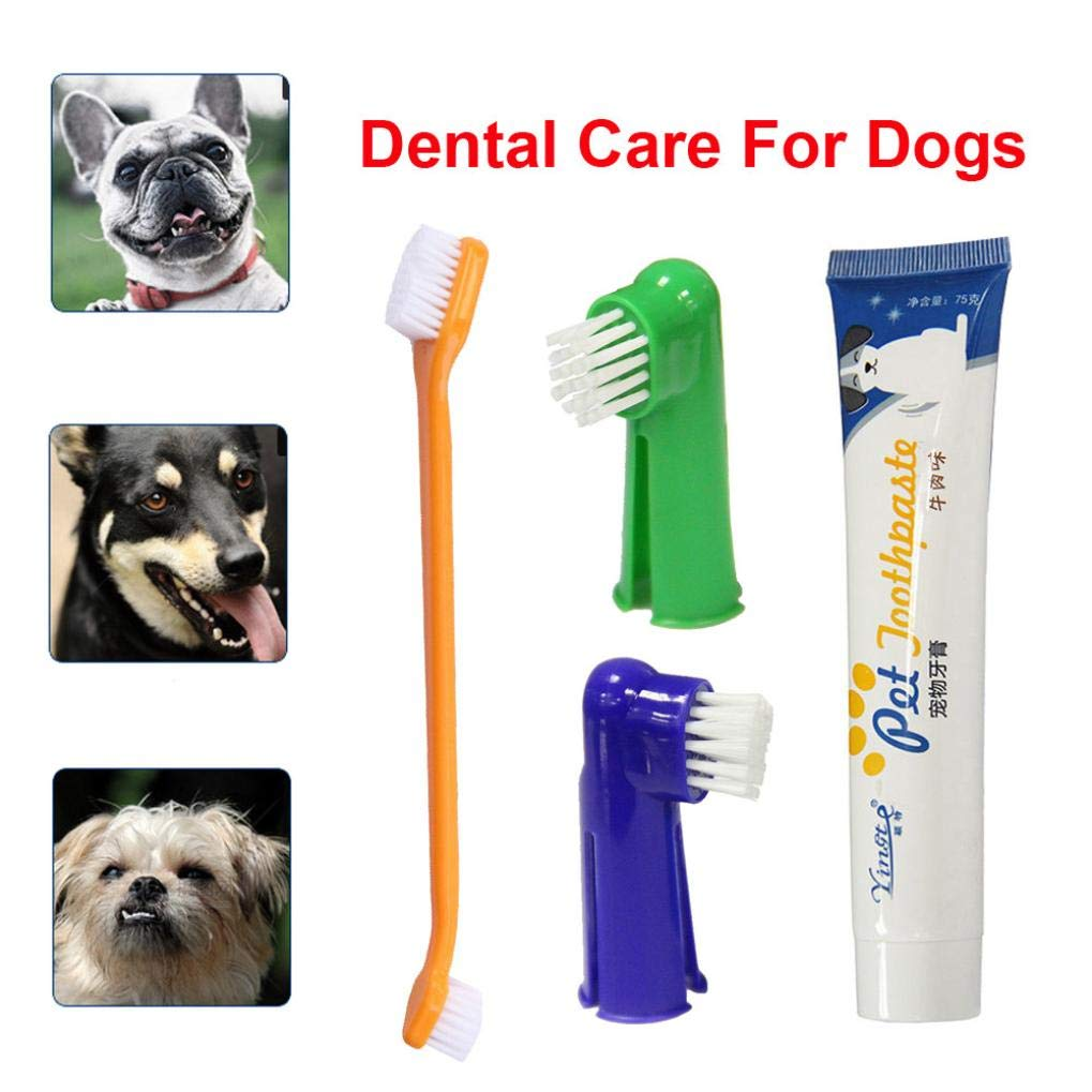 Pet Dog Soft Toothbrush, Finger Brush Food Grade Material Pet Toothbrush Dental Hygiene Brushes Small to Large Dogs Pet Oral Health Care (Multicolor)