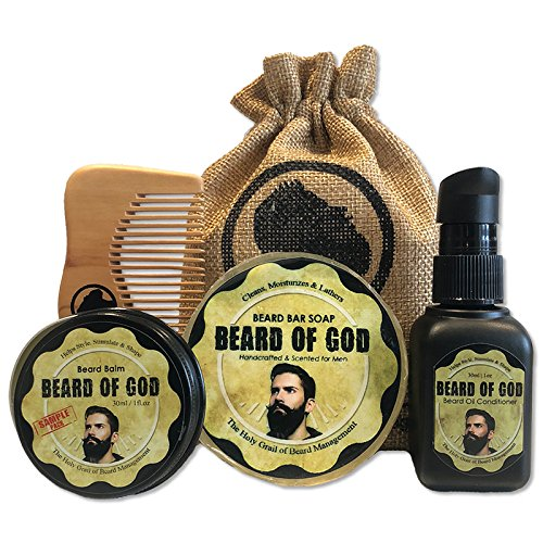 Tobacco Havana | BEARD OIL Conditioner + BALM + BAR SOAP + WOOD COMB & BURLAP SACK by BEARD of GOD | Made to Order | ORGANIC | Tames Wild (Havana Sweets)