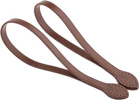 Imagen deTiras para bolsa de mano, 1 par de asas de piel de 60 cm para hacer bolsos y manualidades Tamaño libre marrón