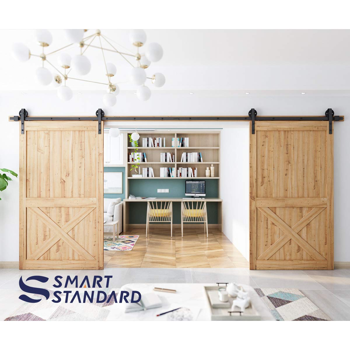 16ft Double Door Sliding Barn Door Hardware Kit - Smoothly and Quietly - Easy to Install - Includes Step-by-Step Installation Instruction -Fit 42''-48'' Wide Door Panel(Big Industrial Wheel Hanger) by SMARTSTANDARD (Image #4)
