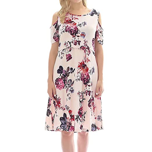 c02737a4a9634 Women's Cold Shoulder Maternity Nursing Dress Floral Print Knee Length Pregnancy  Dress for Baby Shower at Amazon Women's Clothing store: