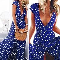 Wensltd Womens Summer Boho Long Maxi Beach Party Dress (L, Blue)