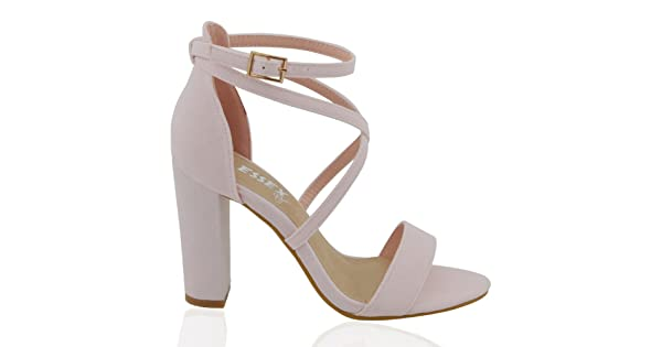 1772495cbb3 ESSEX GLAM Womens Strappy Block Heel Pastel Pink Faux Suede Ankle Strap Sandals  5 B(M) US