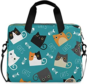 CCDMJ Laptop Case Cute Animal Cat Fish Laptops Sleeve Shoulder Messenger Bag Briefcase Notebook Computer Tablet Bags with Strap Handle for Women Man Boys Girls 16 Inch