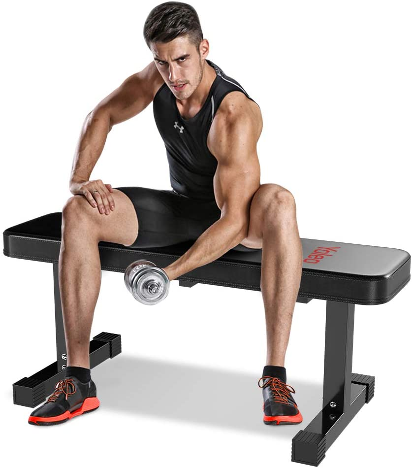 Yoleo Flat Weight Bench- 700 lbs Capacity Utility Exercise Bench for Weight Strength Training, Sit Up Abs Fitness Bench for Full Body Workout of Home Gym-43x14x18 Inches, Latest Black Deluxe Mode