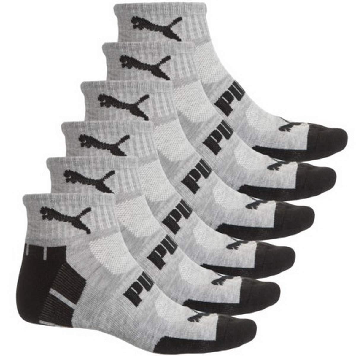 PUMA Men's 6 Pack Quarter Crew Socks (10-13, Gray/Gray/Black) by PUMA