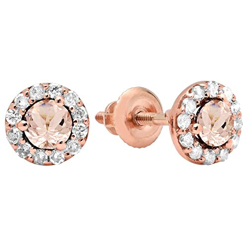 Dazzlingrock Collection 14K 3.5 MM Each Round Gemstone Diamond Ladies Halo Style Stud Earrings, Rose Gold