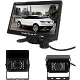 Pathson 7 Pouces TFT LCD Moniteur + 2xCaméra de Recul Étanche Nocturne 18 IR Lampes 120°Vue Couleur Arrière de Voiture Kit