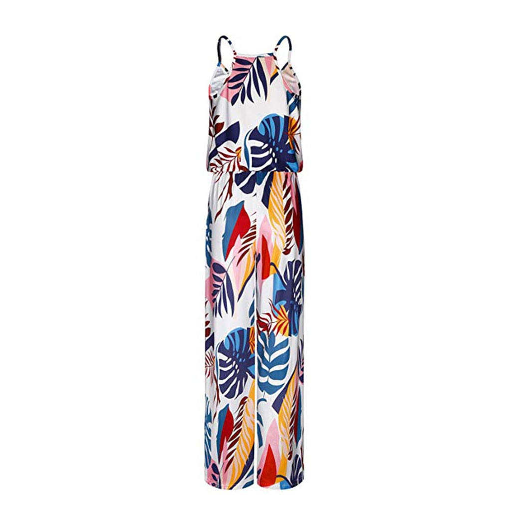 Zlolia Womens Floral Print Camisole Jumpsuit Summer Long Wide Leg Sling Strapless Chiffon Jumpsuits Romper with Pocket
