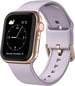 Adepoy Compatible with Apple Watch Bands 40mm 38mm, Soft Silicone Sport Wristbands Replacement Strap with Classic Clasp for iWatch Series SE 6 5 4 3 2 1 for Women Men, Lavender-Grey 38/40mm