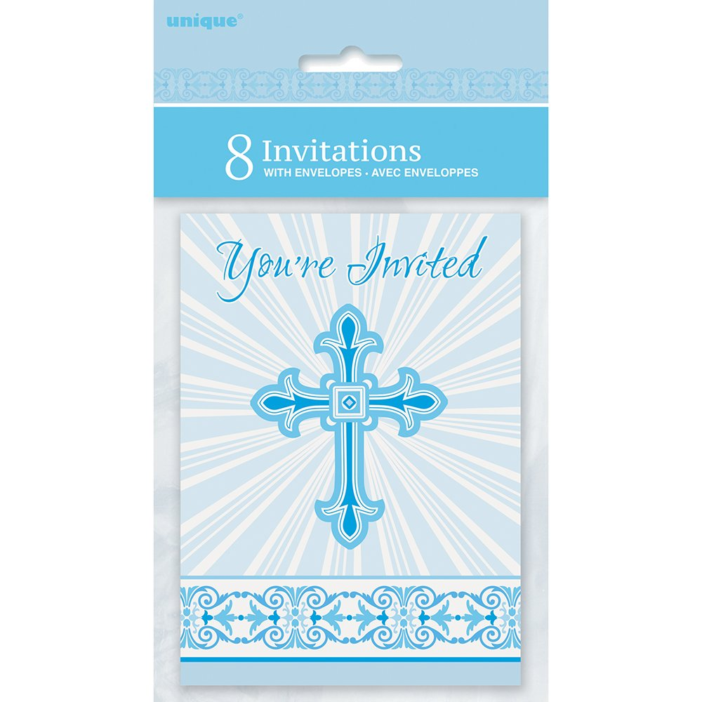 amazon com radiant cross blue religious invitations 8ct kitchen